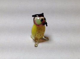 Miniature Glass multi colored owl  Handmade Blown Glass Made USA