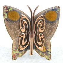 VTG MATISSE RENOIR Signed Yellow Peach Enamel Copper Butterfly Brooch Pin B - $99.00