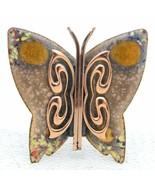 VTG MATISSE RENOIR Signed Yellow Peach Enamel Copper Butterfly Brooch Pin B - $99.00