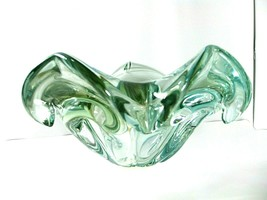 "Blown Glass floriform Bowl Clear Green Heavy 9.5""x 4.5""  Murano Italy Style Art - $59.99"
