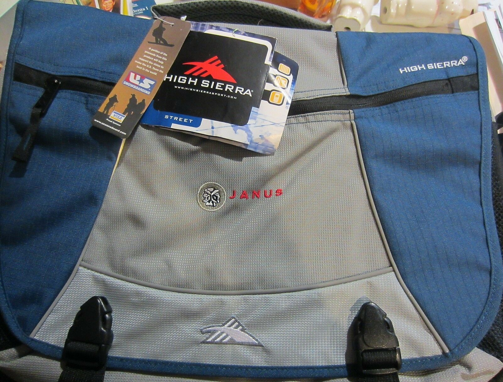 High Sierra Messenger Bag Tank Blue Gray Padded - Travel - Work - new with tags - $50.33