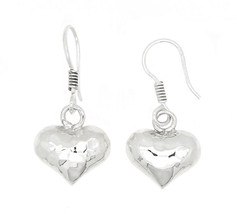 Sterling Silver Hammered Hollow Puff Heart Dangle Earrings - $18.24