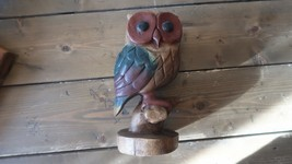 Vintage Wood Hand Carved Owl 9.25 x 4.75 inches Home Decor - $158.39