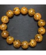 Natural Gold Rutilated Flower Quartz Crystal Round Beads Bracelet AAAA #18 - $846.45