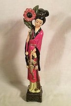 "VINTAGE 18"" CHALKWARE STATUE OF A JAPANESE WOMAN WITH PARASOL & FLOWER - $24.30"