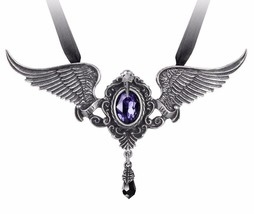 My Soul from the Shadow Poe Raven Wing Crystal Necklace Alchemy Gothic P767 - $74.95