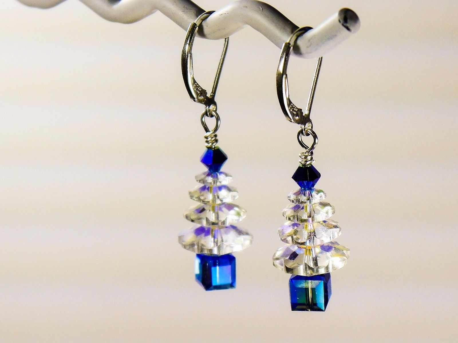 Christmas Tree Earrings / Blue/ made w/ Swarovski Crystals / 925 Sterling