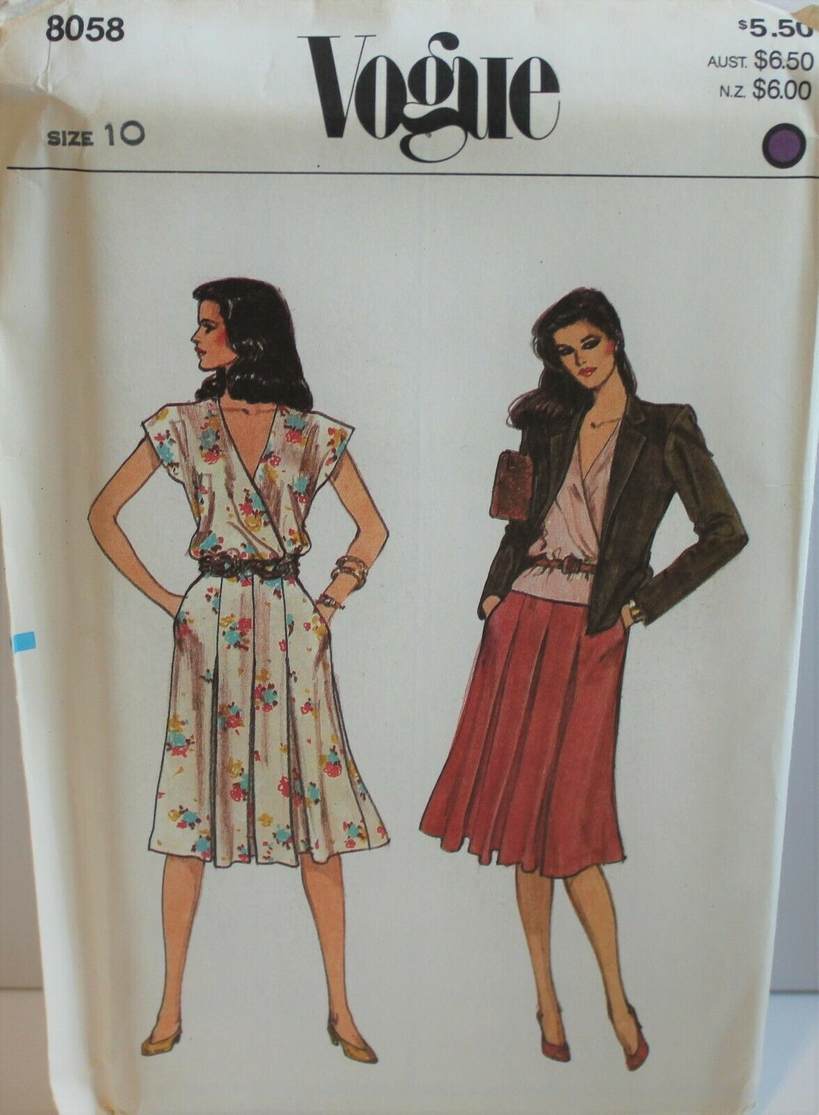 Primary image for Vogue Sewing Pattern 8058 Misses Jacket Blouse Skirt Size 10