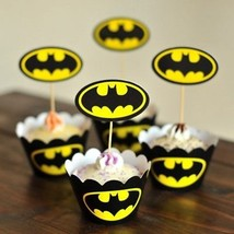 Bat Double-Sided Cupcake Picks Cake Toppers And Paper Cupcake Wrappers ... - $24.01