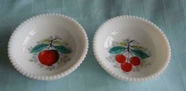 Westmoreland  Beaded Edge Milk Glass Bowls Dishes Hand painted Fruit - $10.62