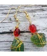 Festive Shores 2: Green Estonian sea glass, golden wirework, red beads, ... - $34.00