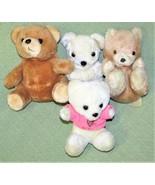 "4 Vintage TEDDY BEARS KOREA Plush Stuffed Animals Tan Brown White 6 1/2""... - $14.03"