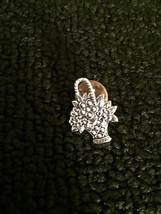 Beautiful silver tone flower bouqet basket BROOCH button Pin vintage jew... - $3.95