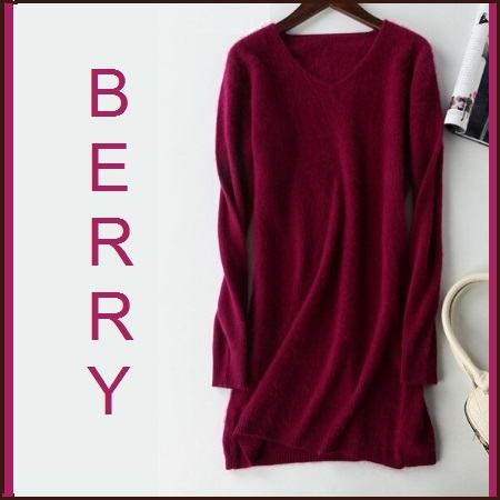 Ladies Soft Mink Cashmere Long Sleeve Berry V-Neck Mini Sweater Shirt Dress