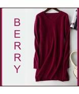 Ladies Soft Mink Cashmere Long Sleeve Berry V-Neck Mini Sweater Shirt Dress - $108.95