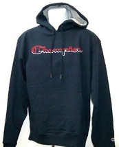 Champion Powerblend Red / White Script Graphic Navy Blue Hoodie Adult Large - $44.54