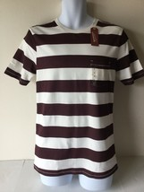 Arizona Jeans Co Mens Tee Shirt Small Brown White Stripe Short Sleeve - $10.88