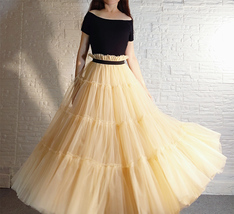 YELLOW Tiered Long Tulle Skirt Outfit High Waist Plus Size Princess Party Outfit image 9