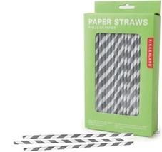 Kikkerland Biologisch Abbaubar Grau Streifen Papier Strohhalme Bar-Party... - $27.10 CAD
