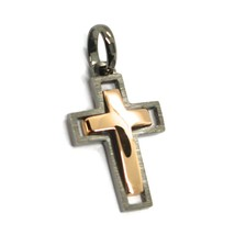 SOLID 18K BLACK & ROSE GOLD DOUBLE CROSS, 0.9 INCHES, MADE IN ITALY SMOOTH SATIN image 2