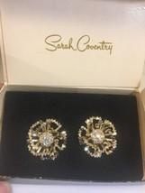 Vintage Sarah Coventry Allusion Rhinestone Floral Clip Earrings Original... - $24.12