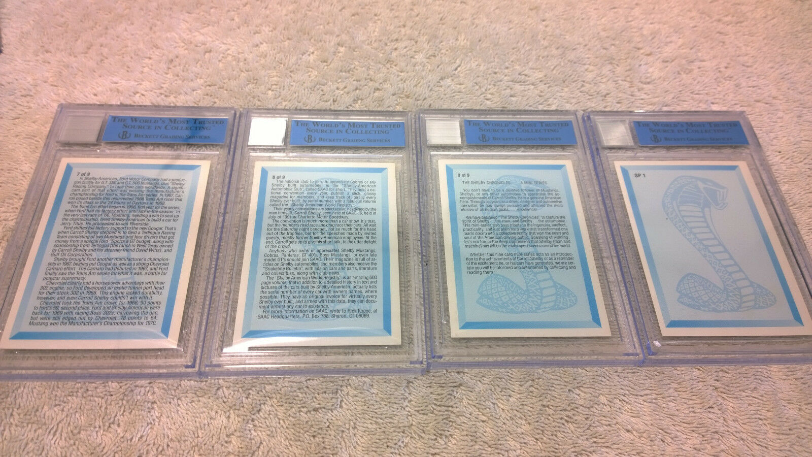 Carroll Shelby Signed Autographed Graded Certified 10x Card Set PRICE DROP