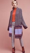 Anthropologie Bonfire Artsy Long Striped Duster Cardigan Sweater Gray Mu... - $154.67
