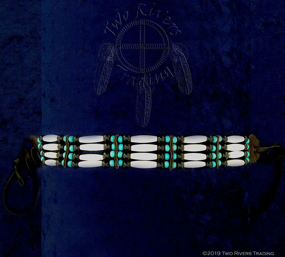 Bone Hairpipe w/ Turquoise & Black Beads Choker