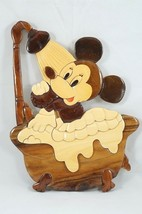 Vintage Disney Mickey Minnie Mouse Bath Wall Decoration Wood Intarsia Marquetry - $67.24