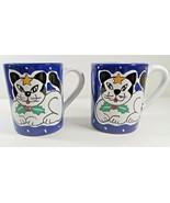 Deruta Italy Ceramic Hand Painted Black & White Cat Coffee Mugs Star & H... - $24.70