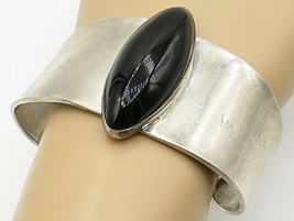 ATI MEXICO 925 Silver - Vintage Marquise Black Onyx Wide Cuff Bracelet- ... - $102.01