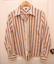 JCREW Shirt SLIM FIT Womens XL Button Down Blouse ROYGB Striped Cotton - $17.79