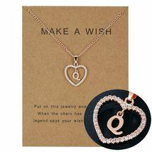 Women Necklace Heart Letter Q Pendant Gold Clavicle Chains Choker Card J... - $13.95