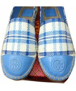 Tory Burch Chambray Blue Check cap Toe Espadrilles 8.5 Ballet Flat Loafe... - $119.00