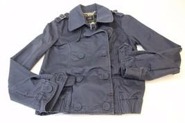 W12512 Womens OBEY Propaganda Gray PEA COAT Jacket New Cotton Canvas SMALL - $30.86