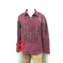 Mens New Native American Mountain Man Burgundy Suede Leather Fringes Shirt MM130 - $99.00