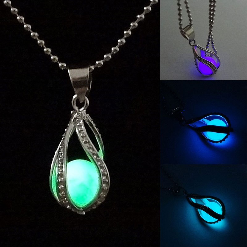 fashion teardrop necklace glow in the dark pendant the little mermaid romantic 4 colors kqs 356