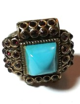 VINTAGE HOLLYCRAFT RHINESTONE COSTUME RING BLUE & RED - $46.00
