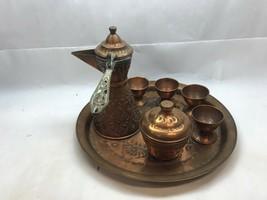 Vintage TURKISH COFFEE Espresso SET Copper 4 CUPS, Sugar BOWL, Finjan POT - $39.59