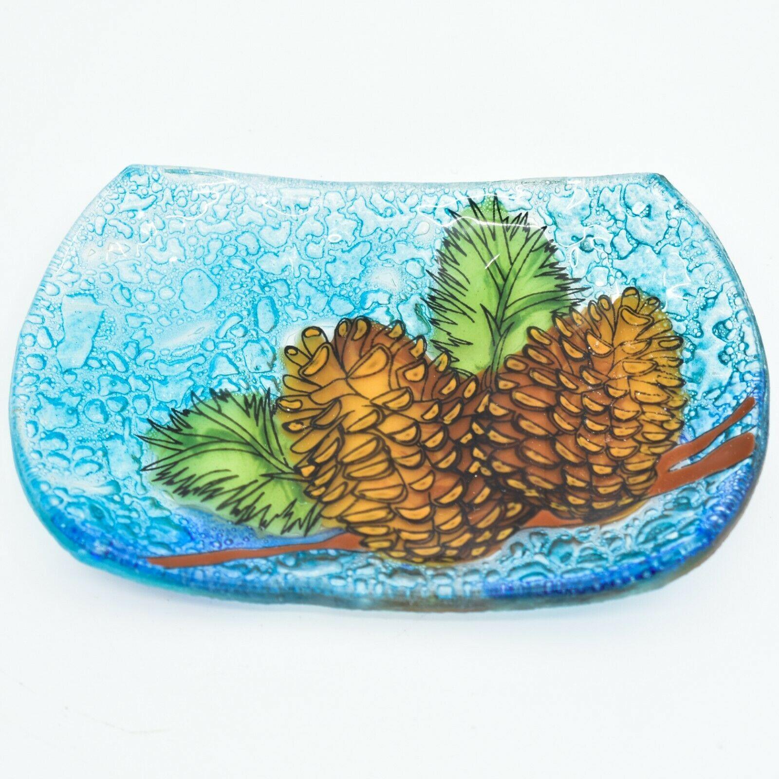 Fused Art Glass Rustic Forest Pinecone Design Soap Dish Handmade in Ecuador