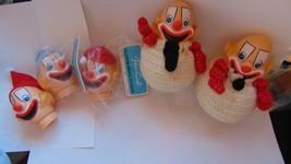 Fibre-Craft 5 Clown Head W/Hair-2 Finished 2 Brand New N Bag-Crocheted-3... - $10.00