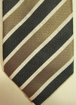NEW J.Z. Richards Wide Gray Stripe 3.5 Inch Silk Tie Handmade in USA - $37.49