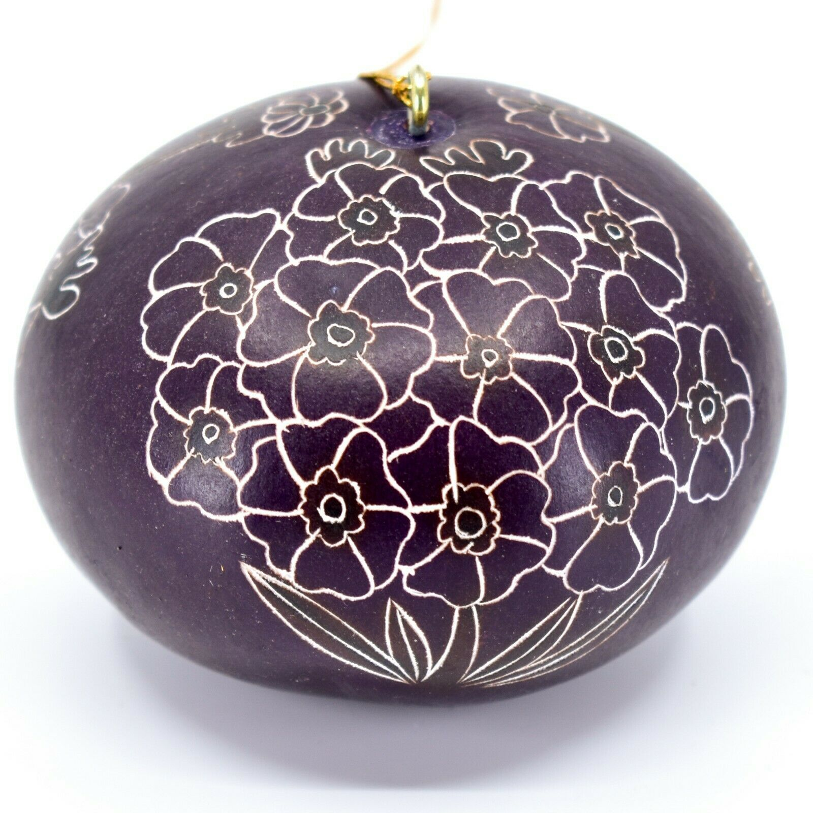 Handcrafted Carved Gourd Art Purple Primose Flower Floral Ornament Made in Peru