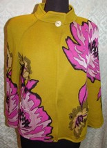 St John Colorful Jacket Cardigan Green Pink Large Overscale Floral Print 4 RARE - $243.20