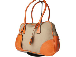 Authentic PRADA Canvas Leather Beige Shoulder Bag PS9326L - $289.00