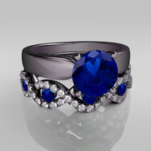 Round Cut 1.30ct Sapphire & Diamond 925 Solitaire Engagement Bridal Ring Set - $118.98