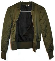 Divided by H&M Women's Army Green Zip Up Puffer Bomber Jacket Size 2 image 4