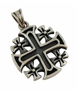 925 Sterling Sterling Jerusalem Cross Pendant Holy Land Jewelry with Cer... - $37.40