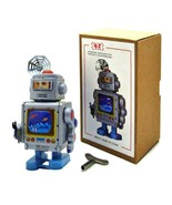 """MARCHING SPACEMAN ROBOT 4"""" Gray Blue Wind Up Tin Toy Collectible Retro M... - $16.95"""