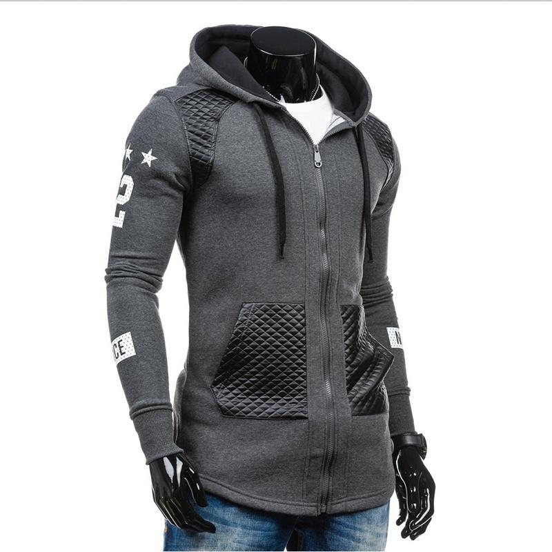 Mens Long Sleeved Casual Light Gray Hoodies Coat (M/L/XL/XXL/XXXL)